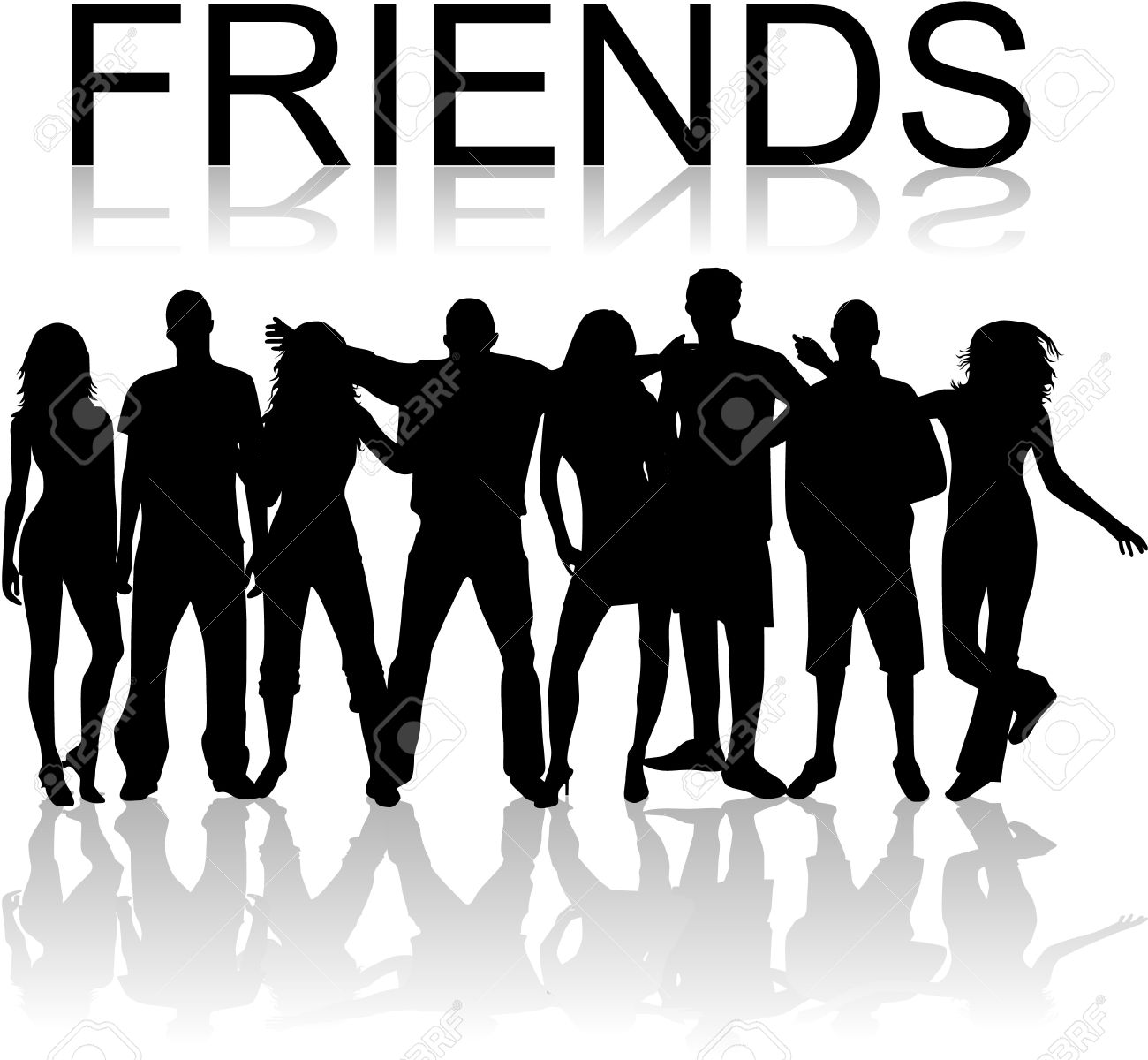 Free friend silhouette cliparts. Friends clipart shadow