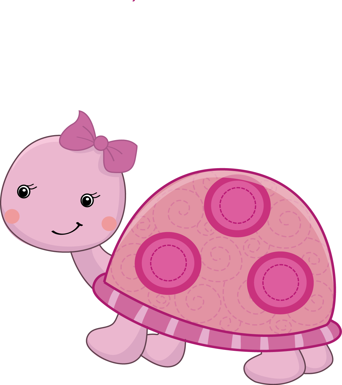 Pretty pink girly jungle. Clipart turtle month