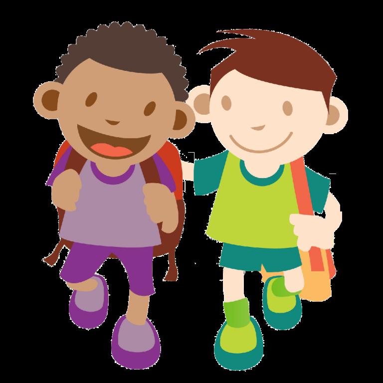 Friends clipart walking. Kids to school children
