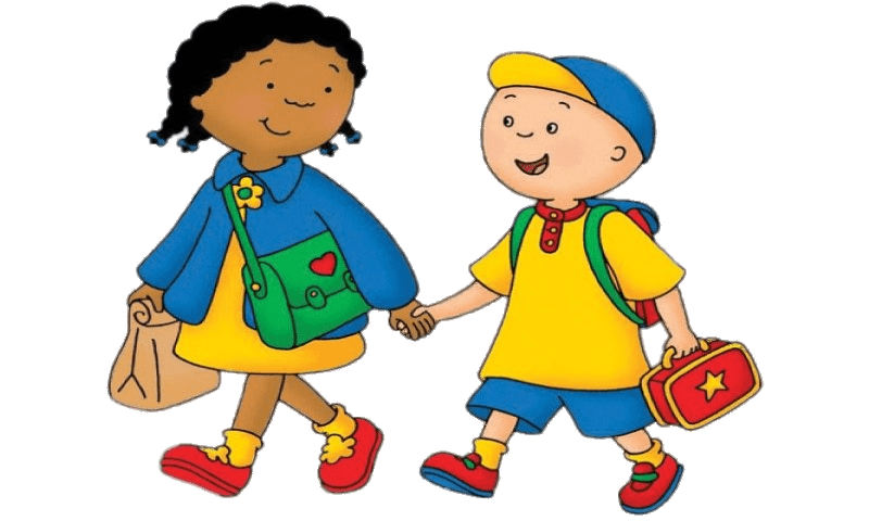 Caillou and clementine walking. Friendly clipart walk
