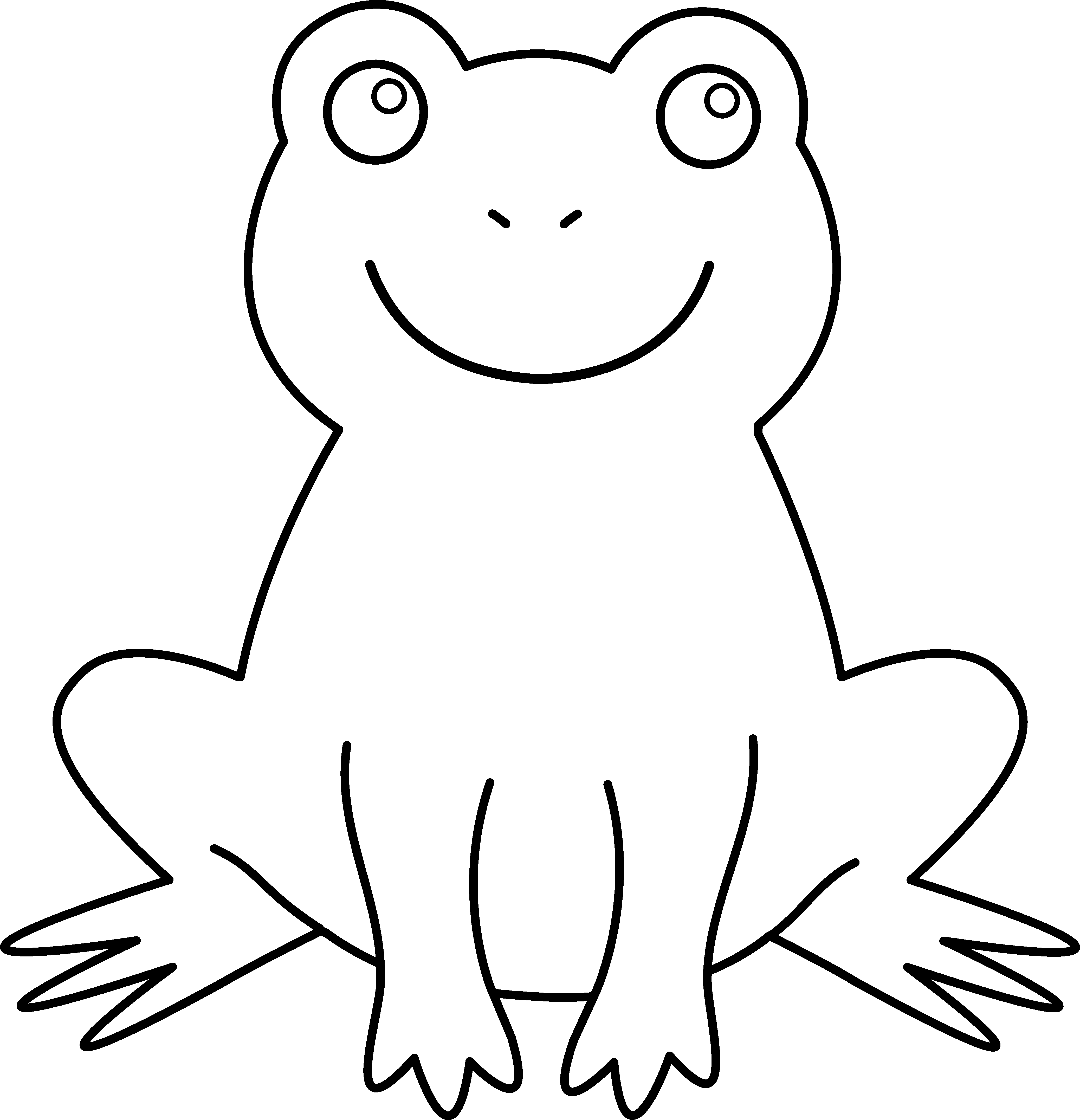Png black and white. Outline clipart frog