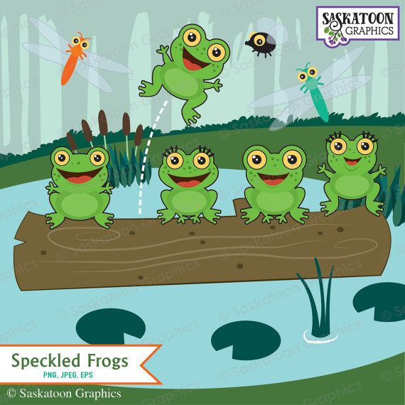 Frog clipart file. Five green and speckled
