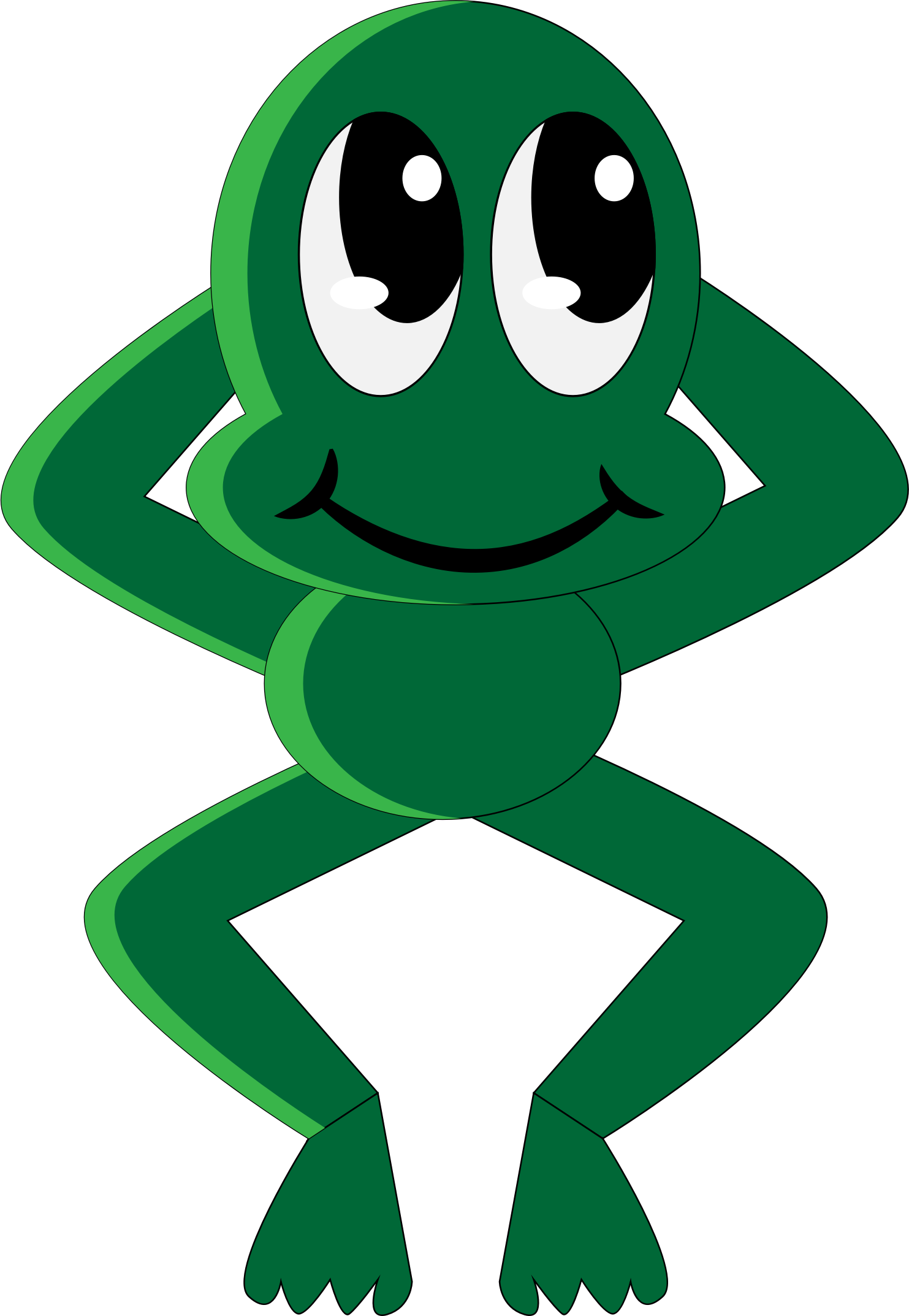 Clipart smile tree. Relaxed smiling froggy big