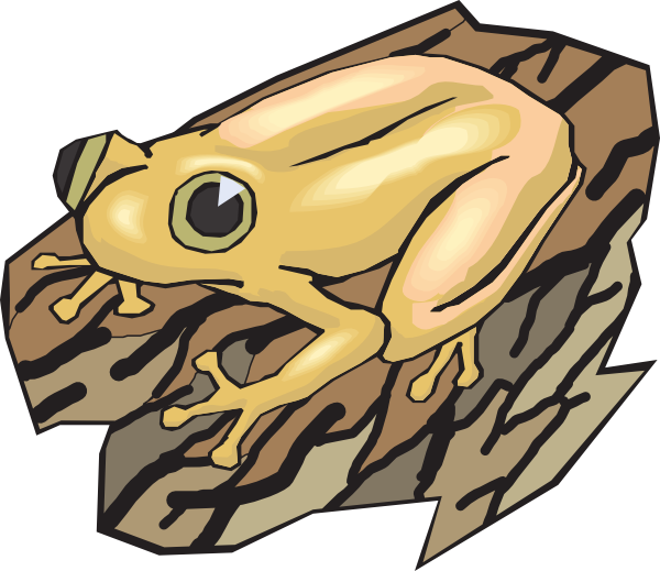 Clipart frog math. Yellow on a log