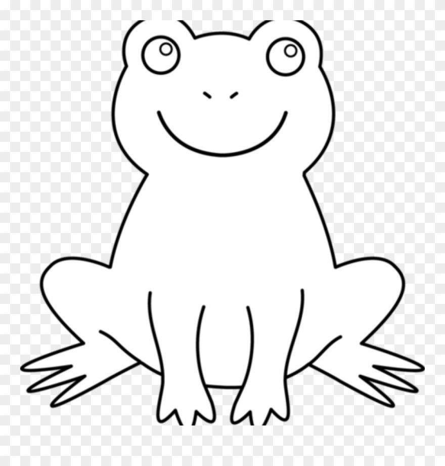 Black and white frog. Frogs clipart outline