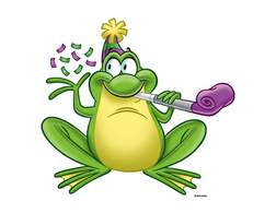 With blower and panda. Clipart frog party
