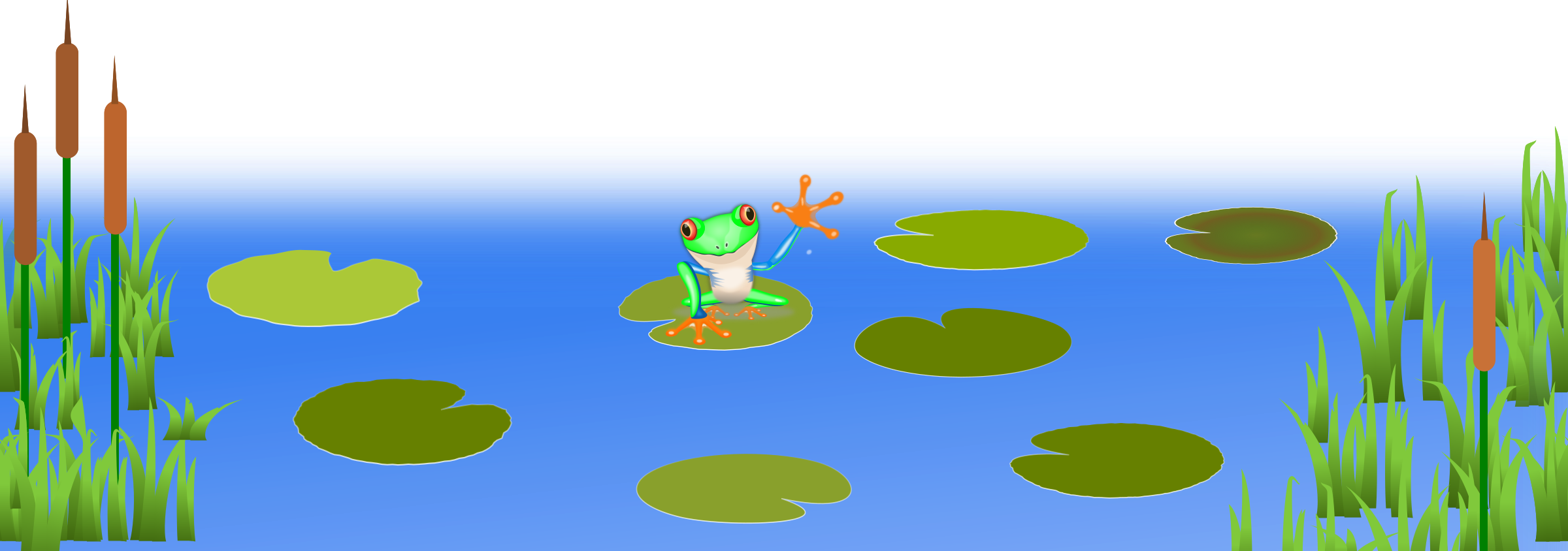 Scene pencil and in. Lake clipart lily pad pond