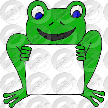 Frog clipart sign. Picture for classroom therapy
