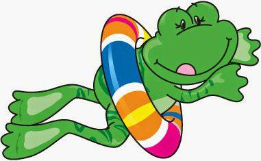 Swimming in illustration . Clipart frog summer