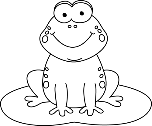 Free black and white. Clipart frog template