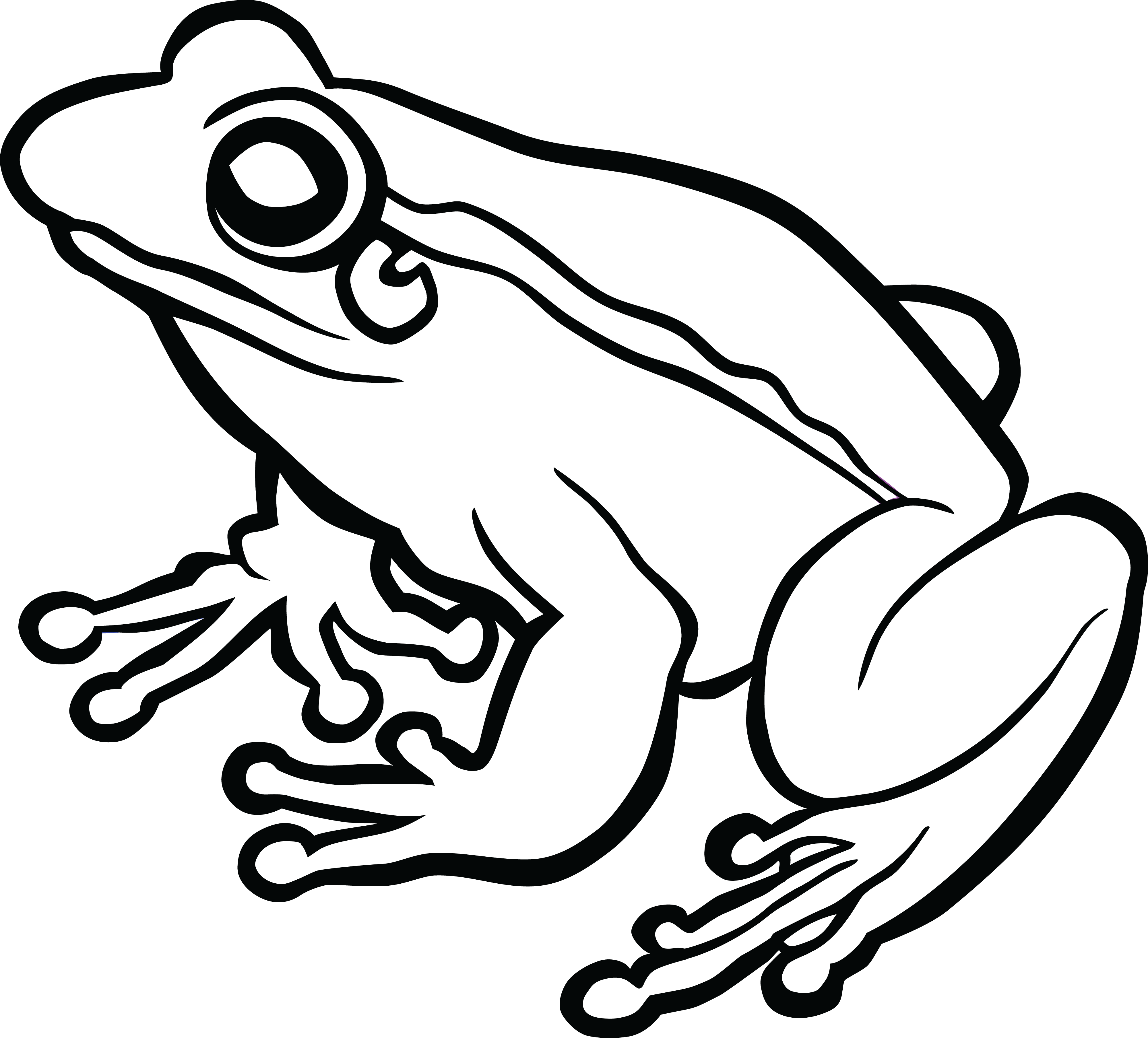 frogs clipart black and white