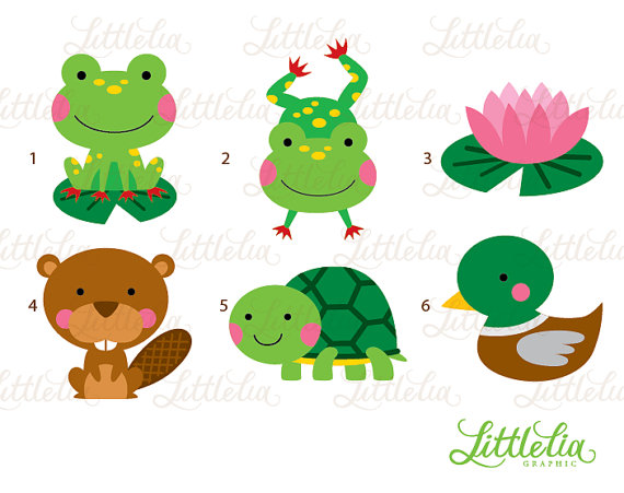 Pond frog and animal. Clipart turtle friend