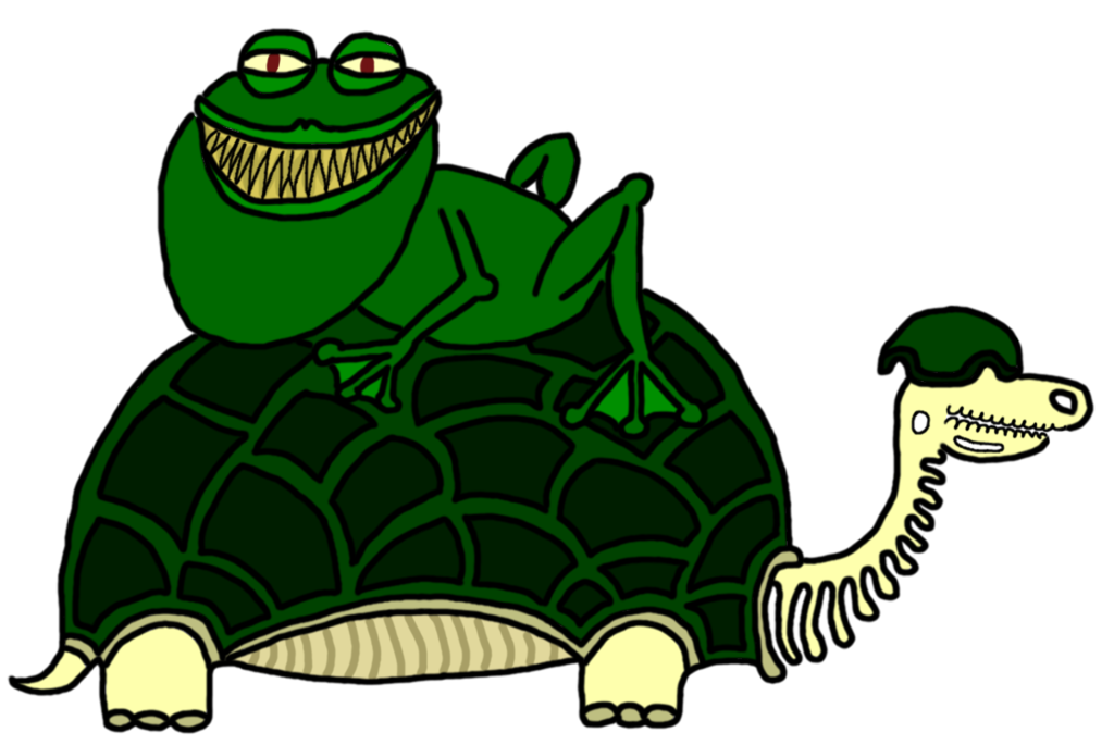 Frogs clipart turtle. Skeleton and creepy frog