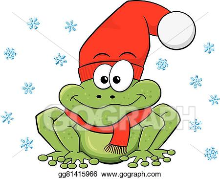 Frog clipart winter. Vector illustration cartoon with