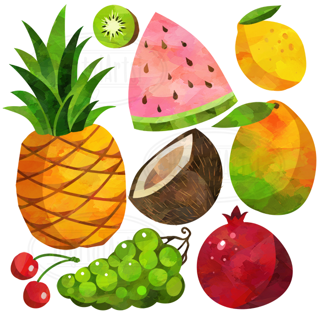 Watercolor fruits by digitalartsi. Clipart fruit
