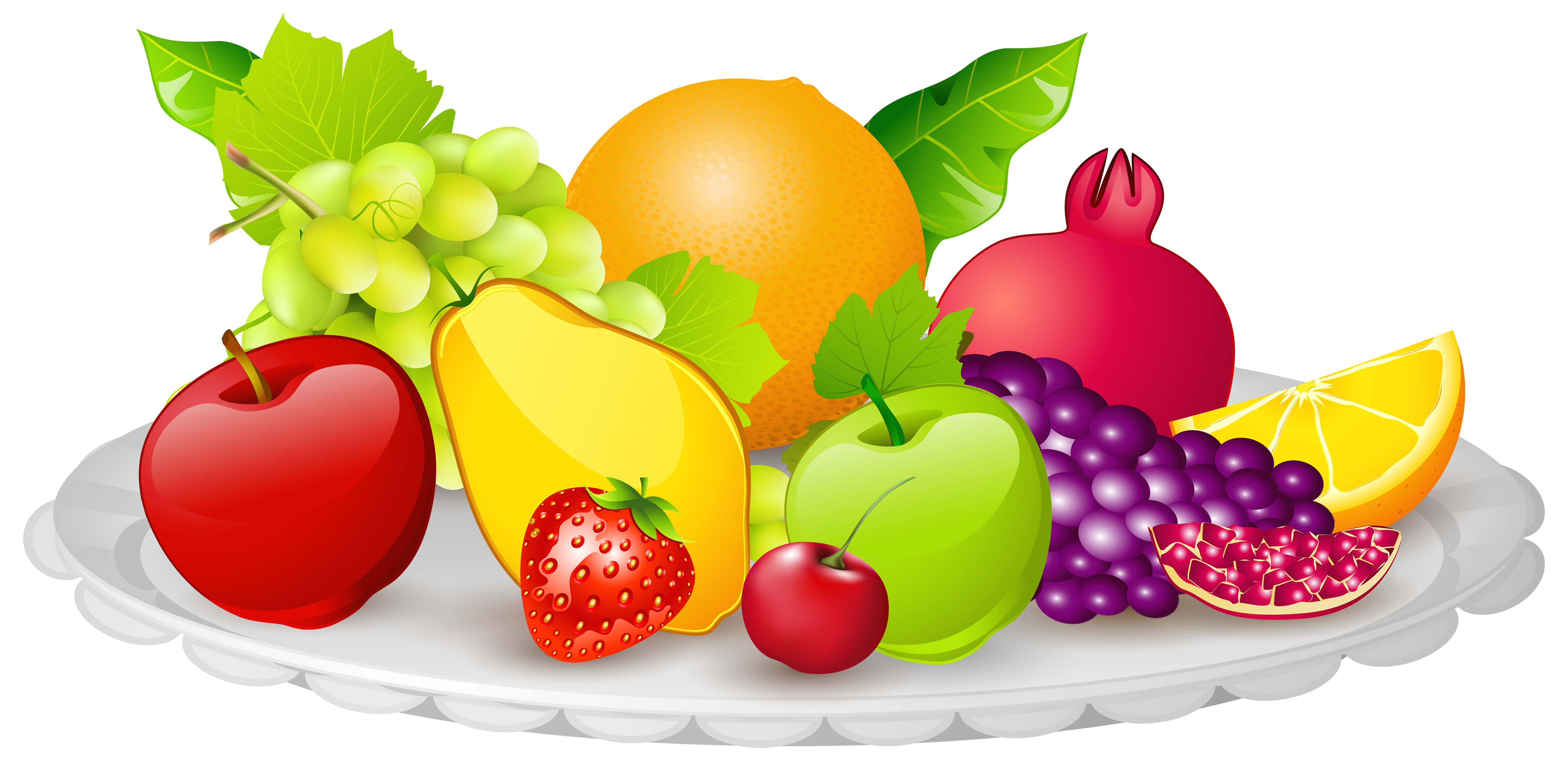 Clipart fruit. Plate with fruits png