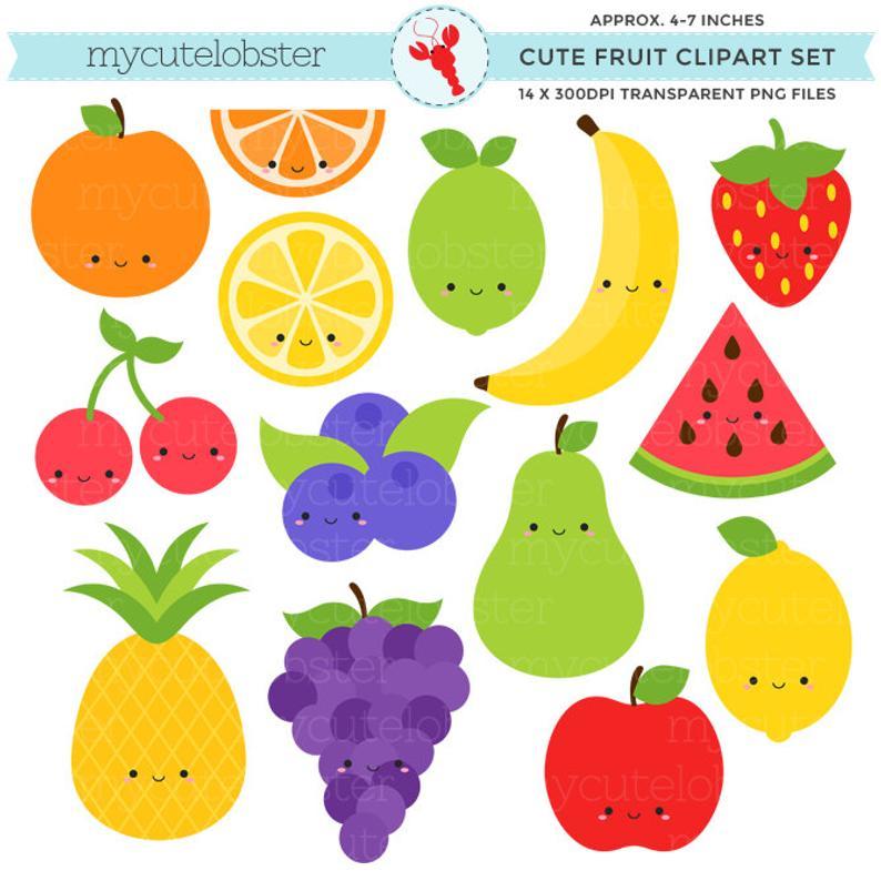 Clipart fruit. Cute set clip art