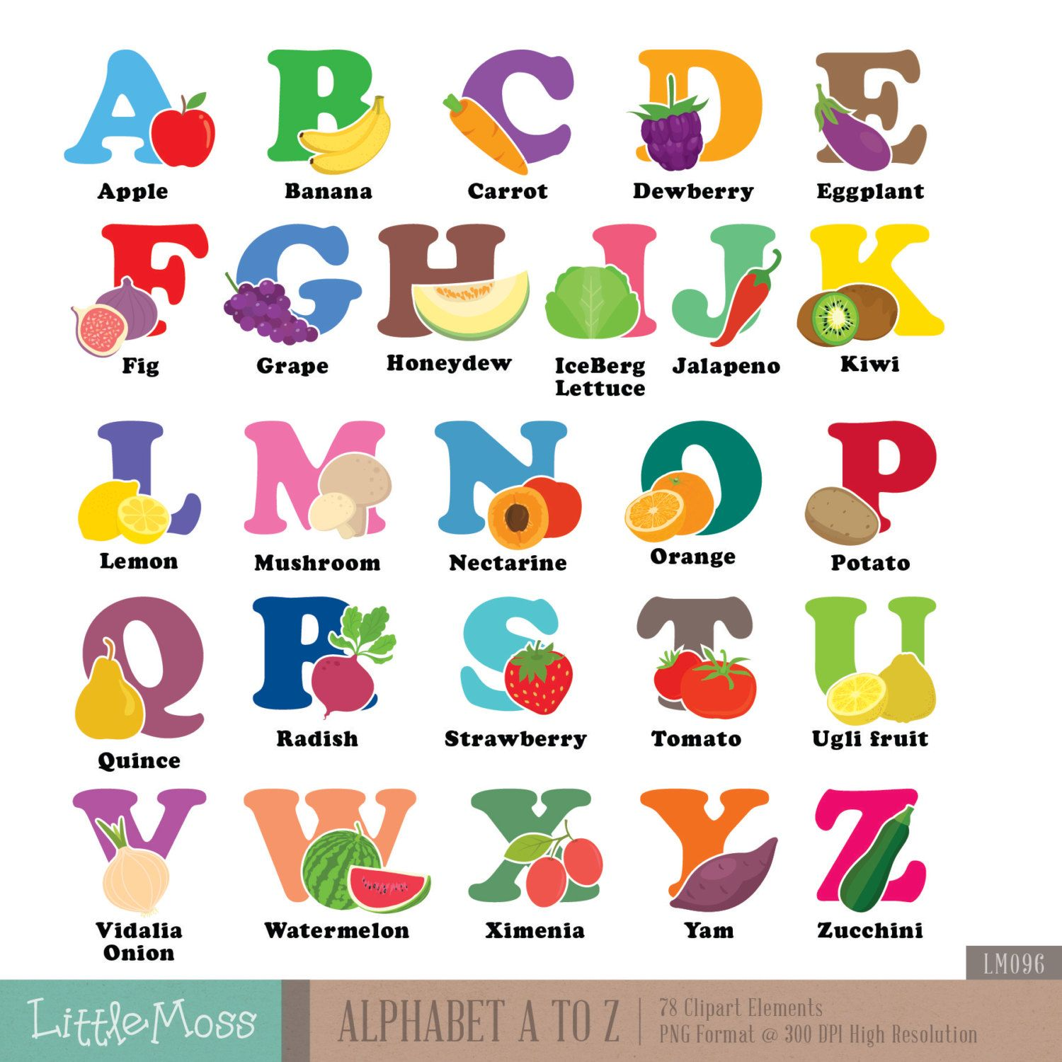 Dictionary clipart a to z. Alphabet digital vegetable and