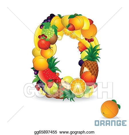 Drawing from letter o. Fruit clipart alphabet