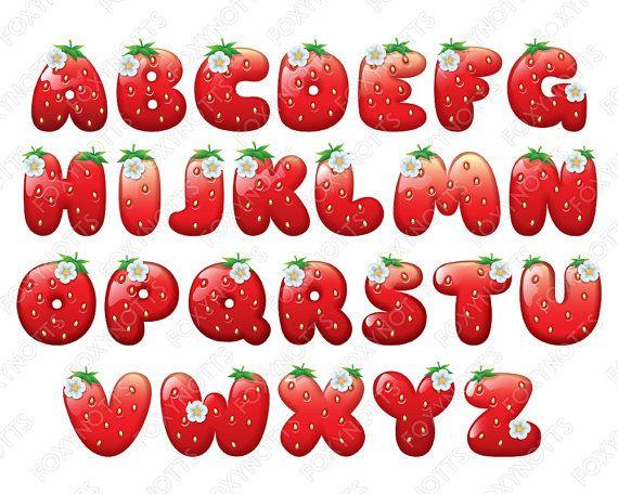 Fruit clipart alphabet. Strawberry clip art font