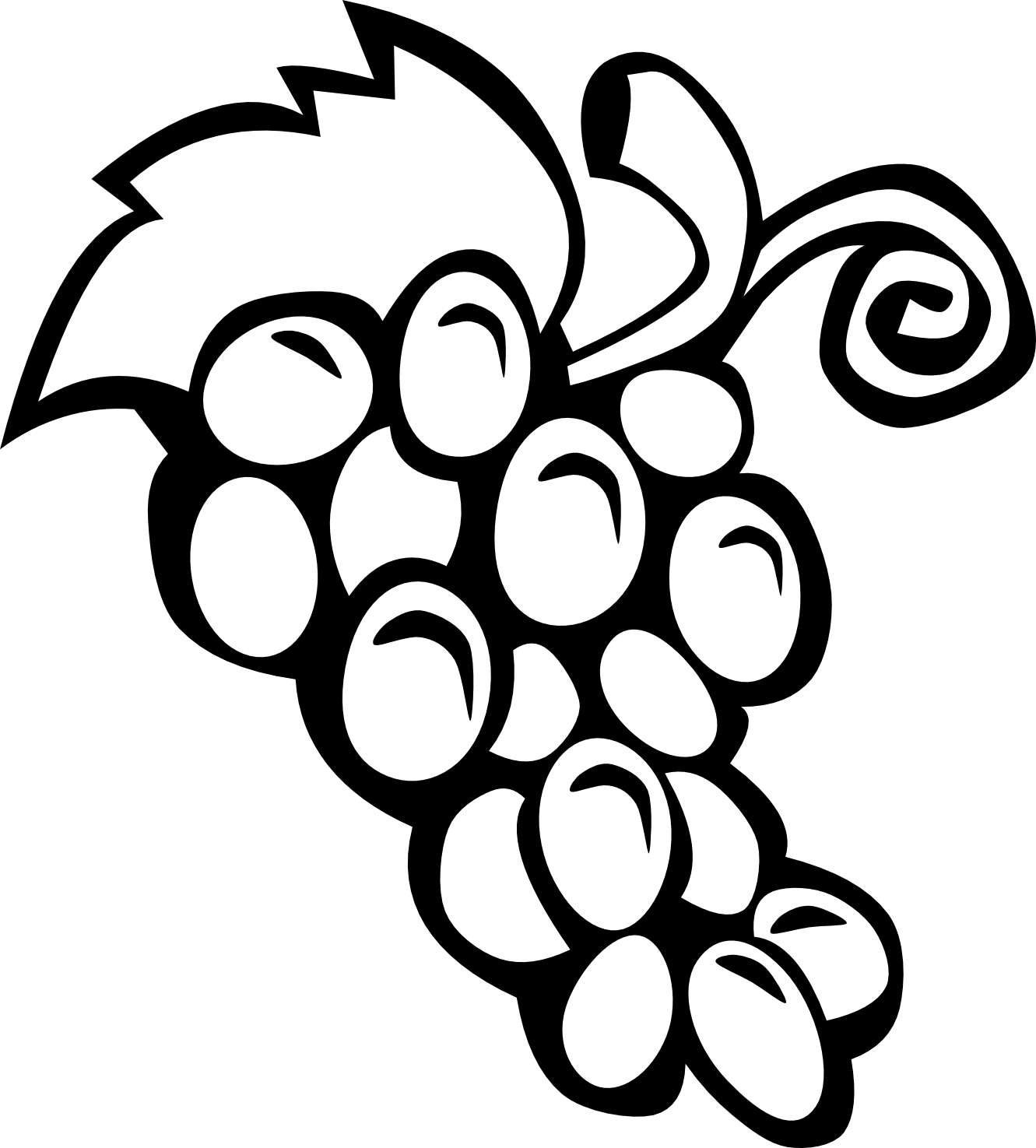 Black and white panda. Grapes clipart autumn fruit