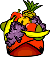 Fruits clipart tropical fruit. Bowl drawing hat