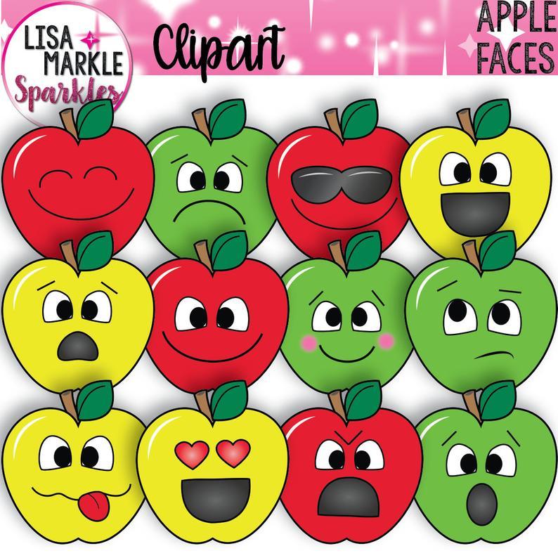 Clipart fruit emotion. Apple emoji faces back