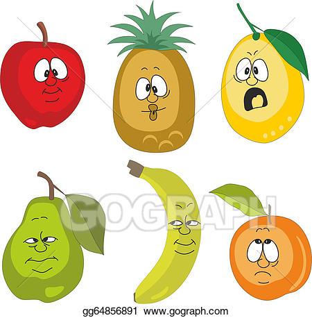 Clipart fruit emotion. Vector illustration cartoon fruits