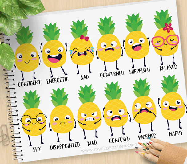 Pineapple emotions . Clipart fruit emotion