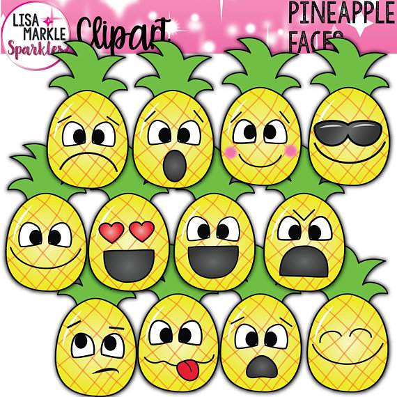 Pineapple with faces emoji. Clipart fruit emotion