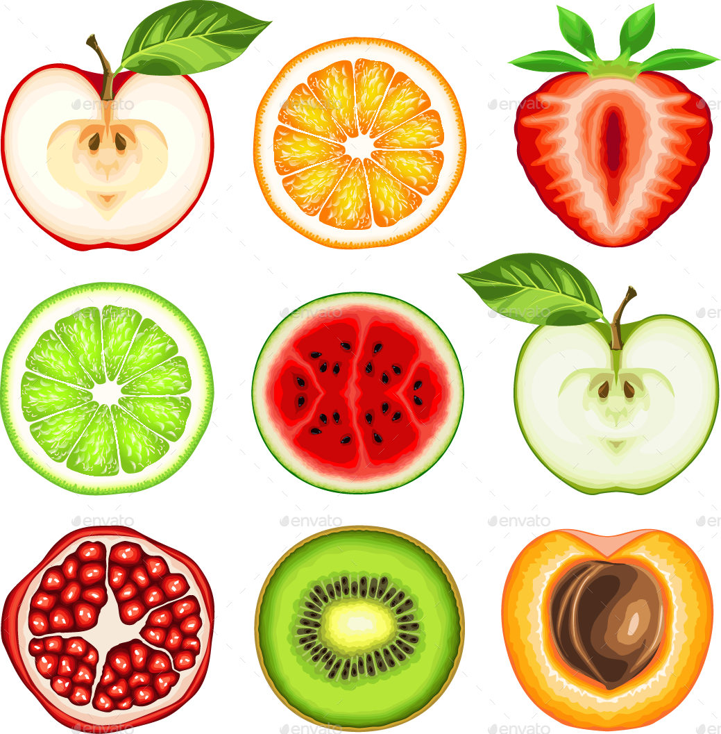 Slices by ashmarka graphicriver. Clipart fruit fresh fruit
