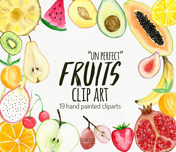 Watercolor food clip art. Clipart fruit fresh fruit