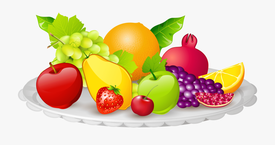 Fruits clipart food. Plate of png fruit