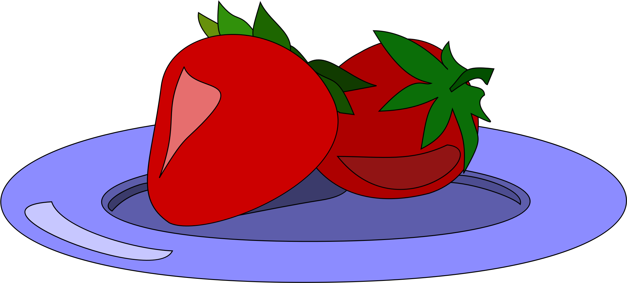 On a plate big. Strawberries clipart cartoon