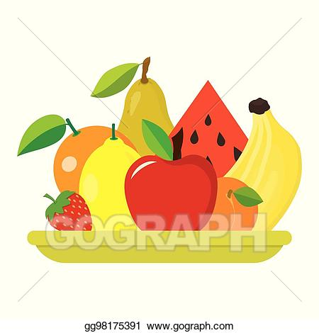 Vector illustration with fruits. Fruit clipart fruit plate