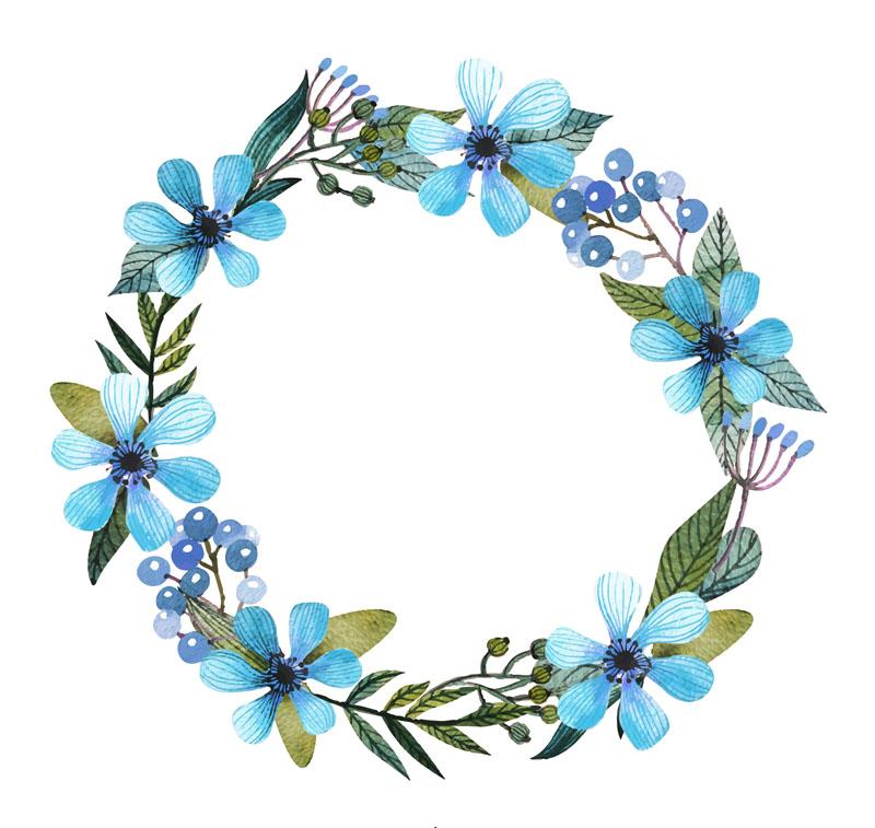 Clipart fruit garland. Flower blue wreath clip