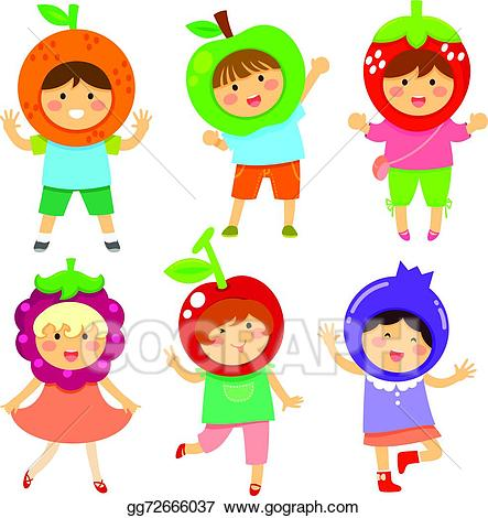 Vector art fruity kids. Fruit clipart kid