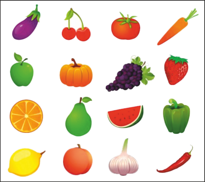 Vegetables and fruits drawing. Draw clipart healthy child