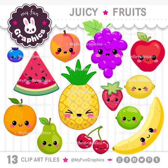 Fruits clipart man. Juicy kawaii clip art