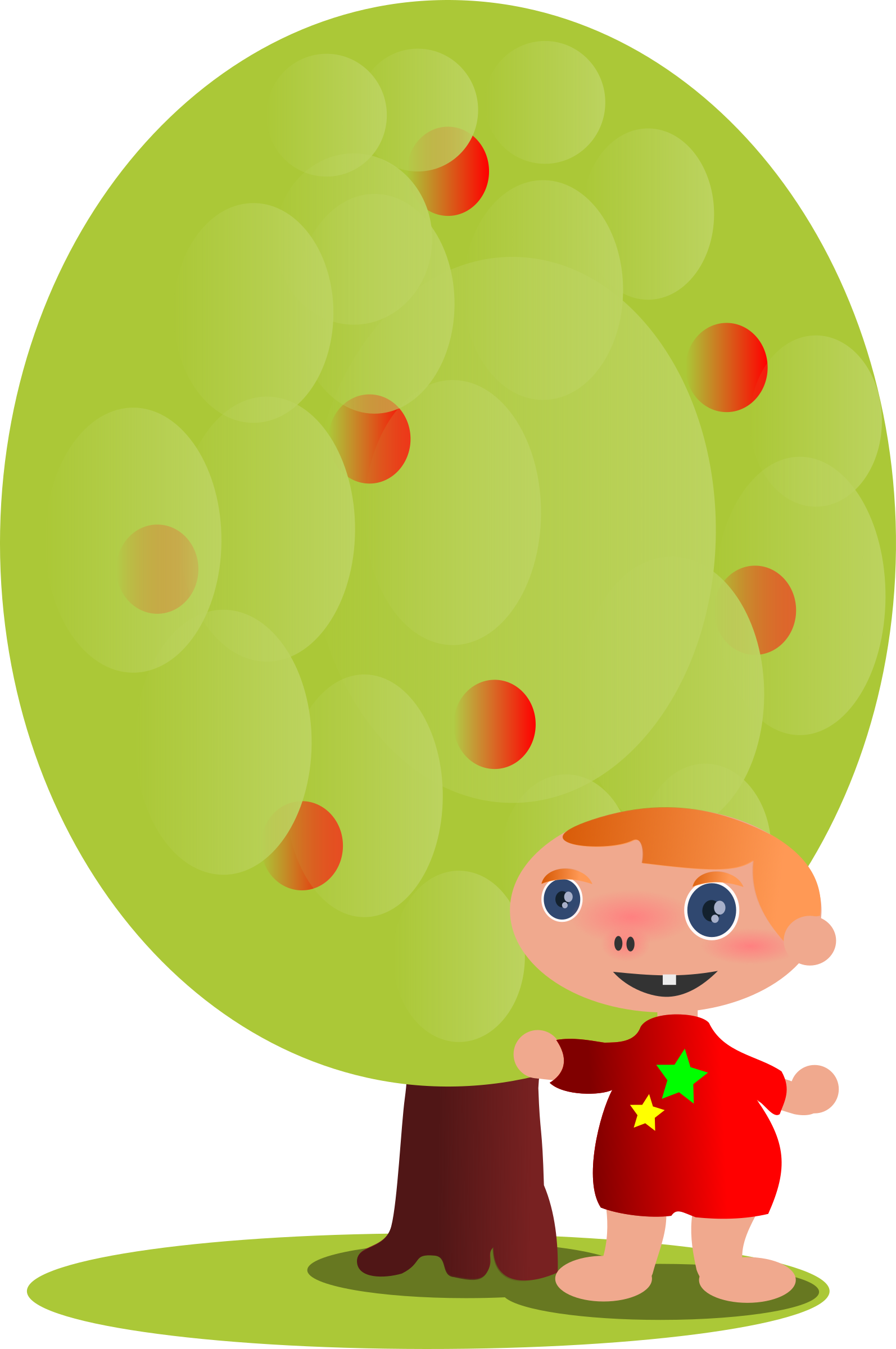 Red tree with a. Person clipart fruit