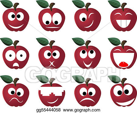 Vector ridiculous expressions of. Fruit clipart person
