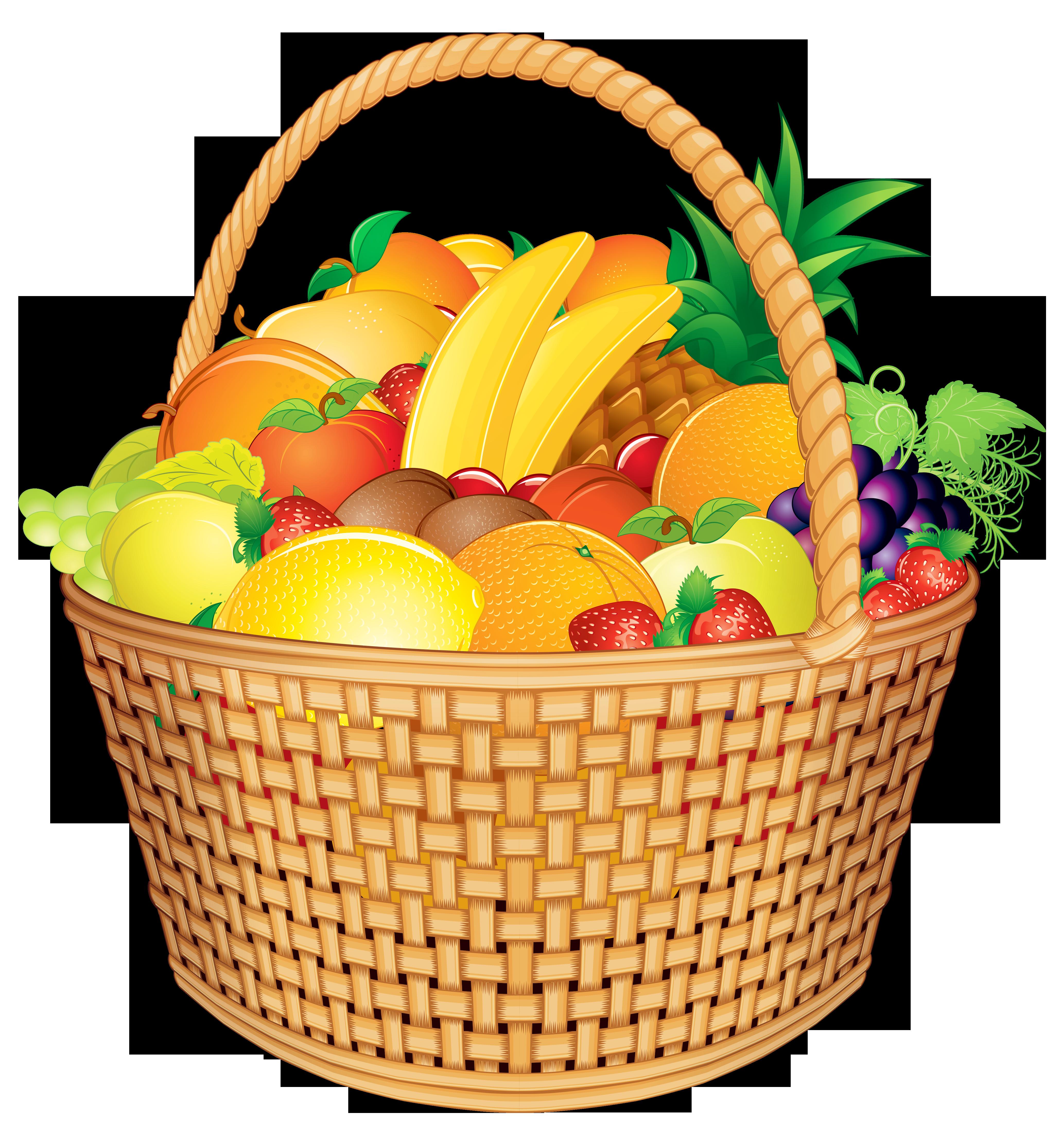 Fruit basket png vector. Raffle clipart hampers