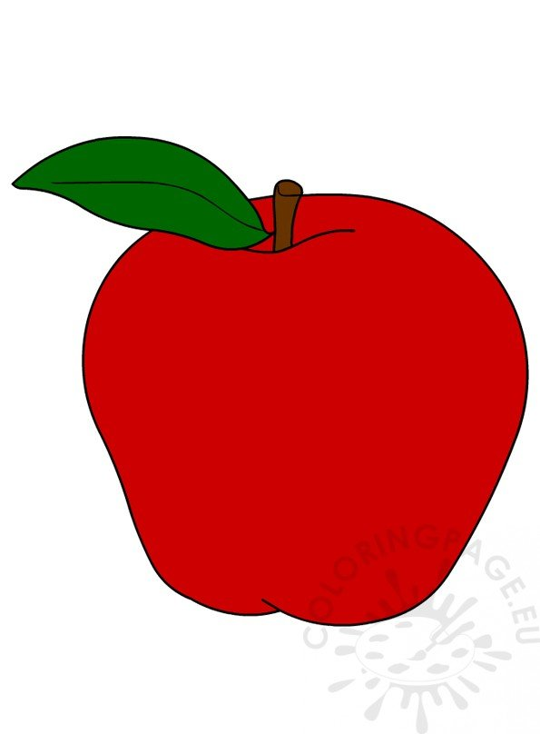 Clipart fruit single. Red apple coloring page