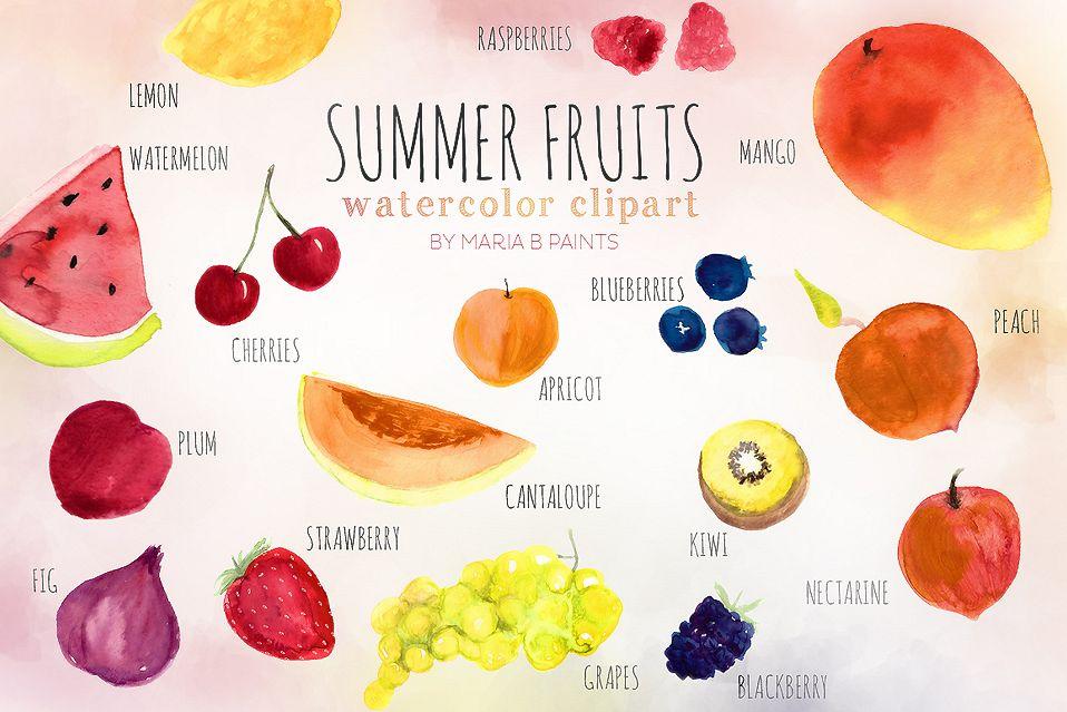 Watercolor . Fruits clipart summer fruit
