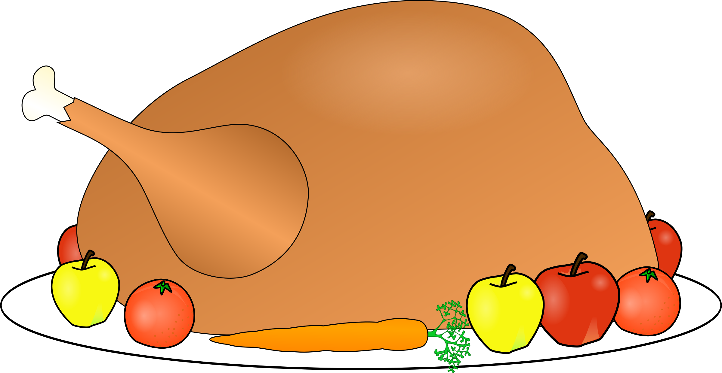 Turkey platter with fruit. Pear clipart animated