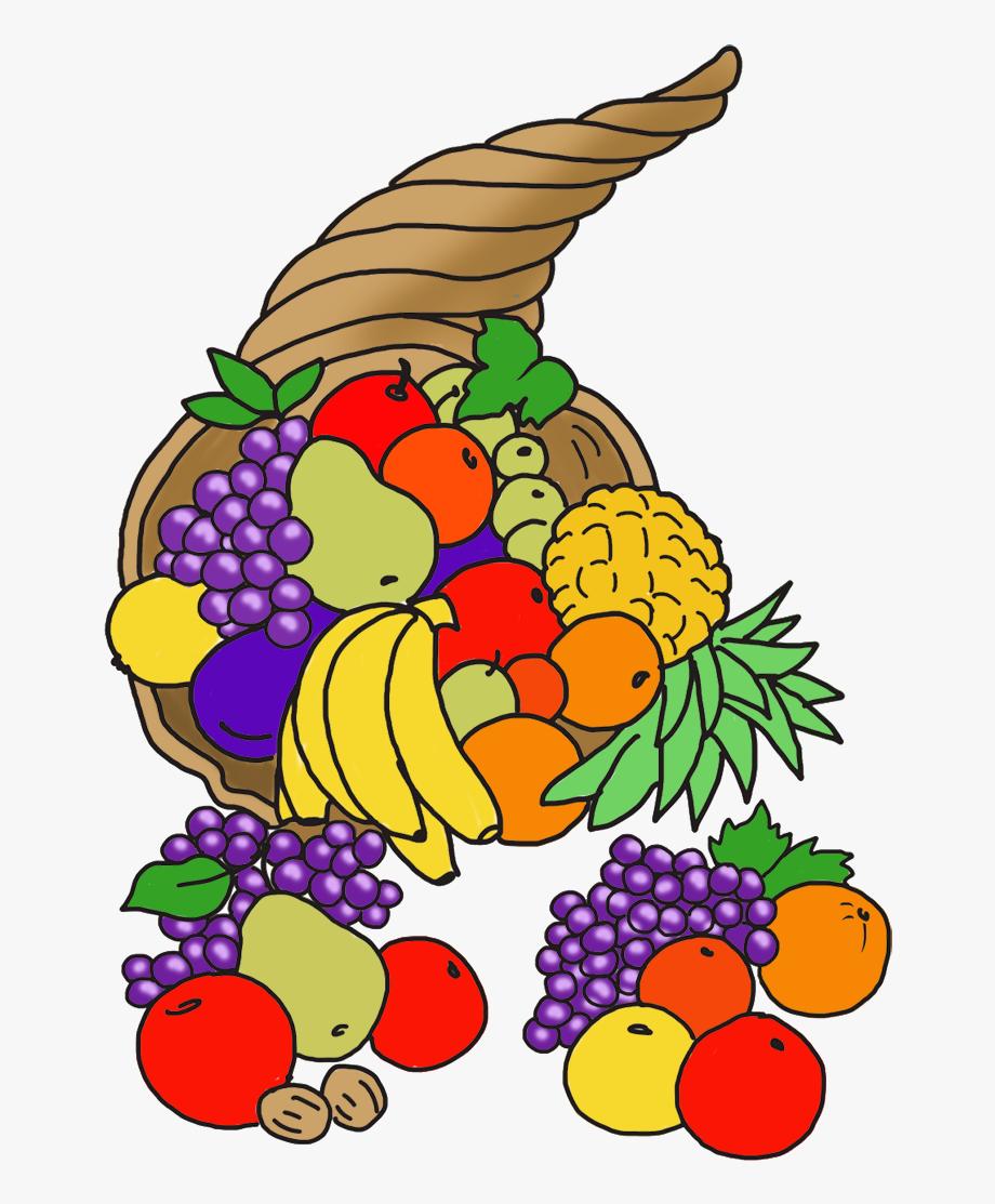 Happy cornucopia . Fruit clipart thanksgiving