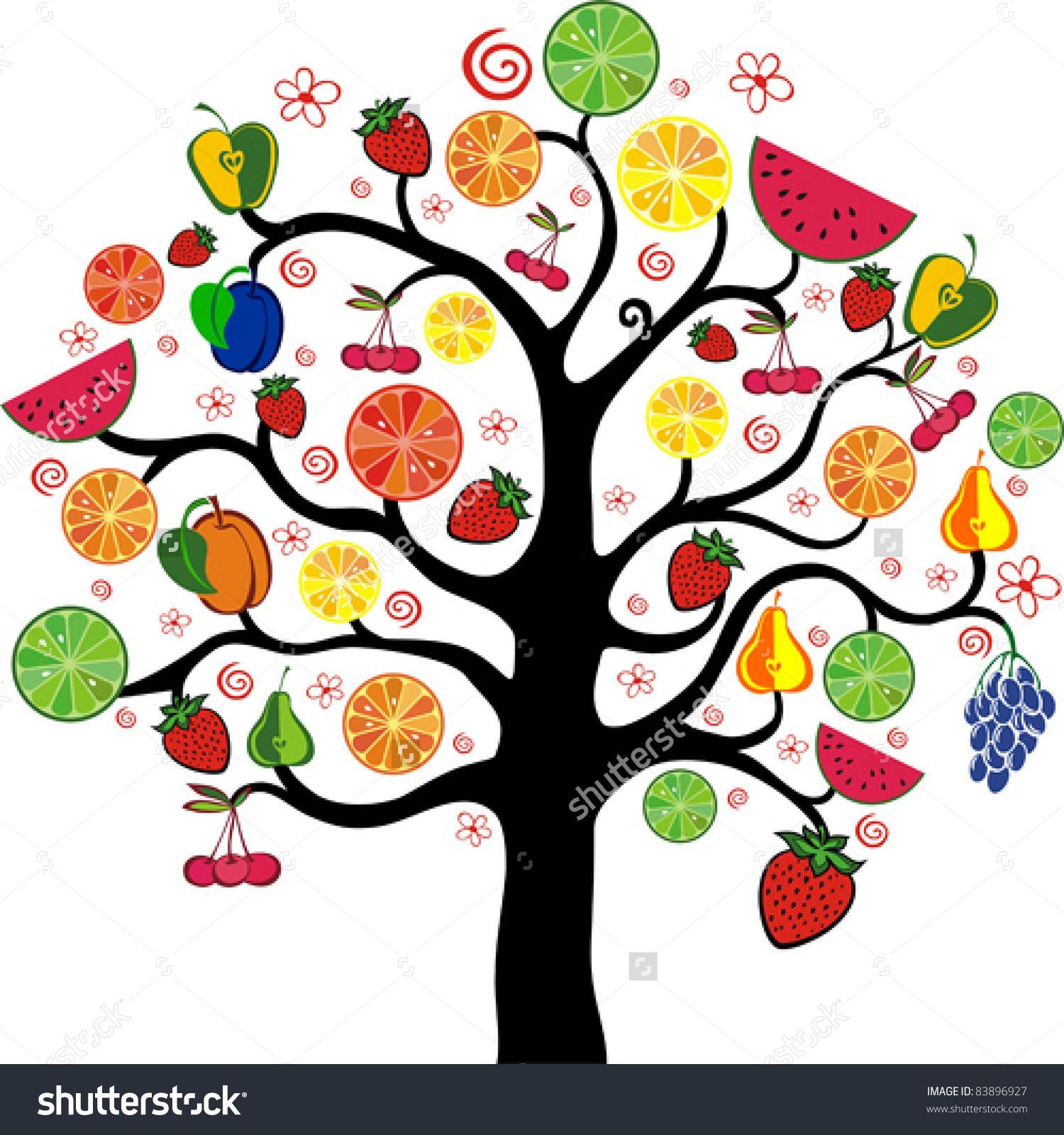 Clipart trees fruit. Mixed fruits tree isolated