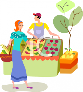 Buying produce at an. Fruit clipart woman