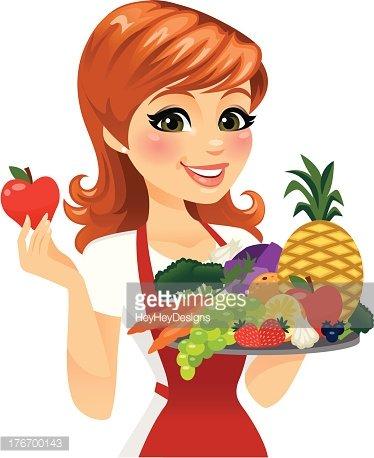 Fruit clipart woman. Eating healthy food premium