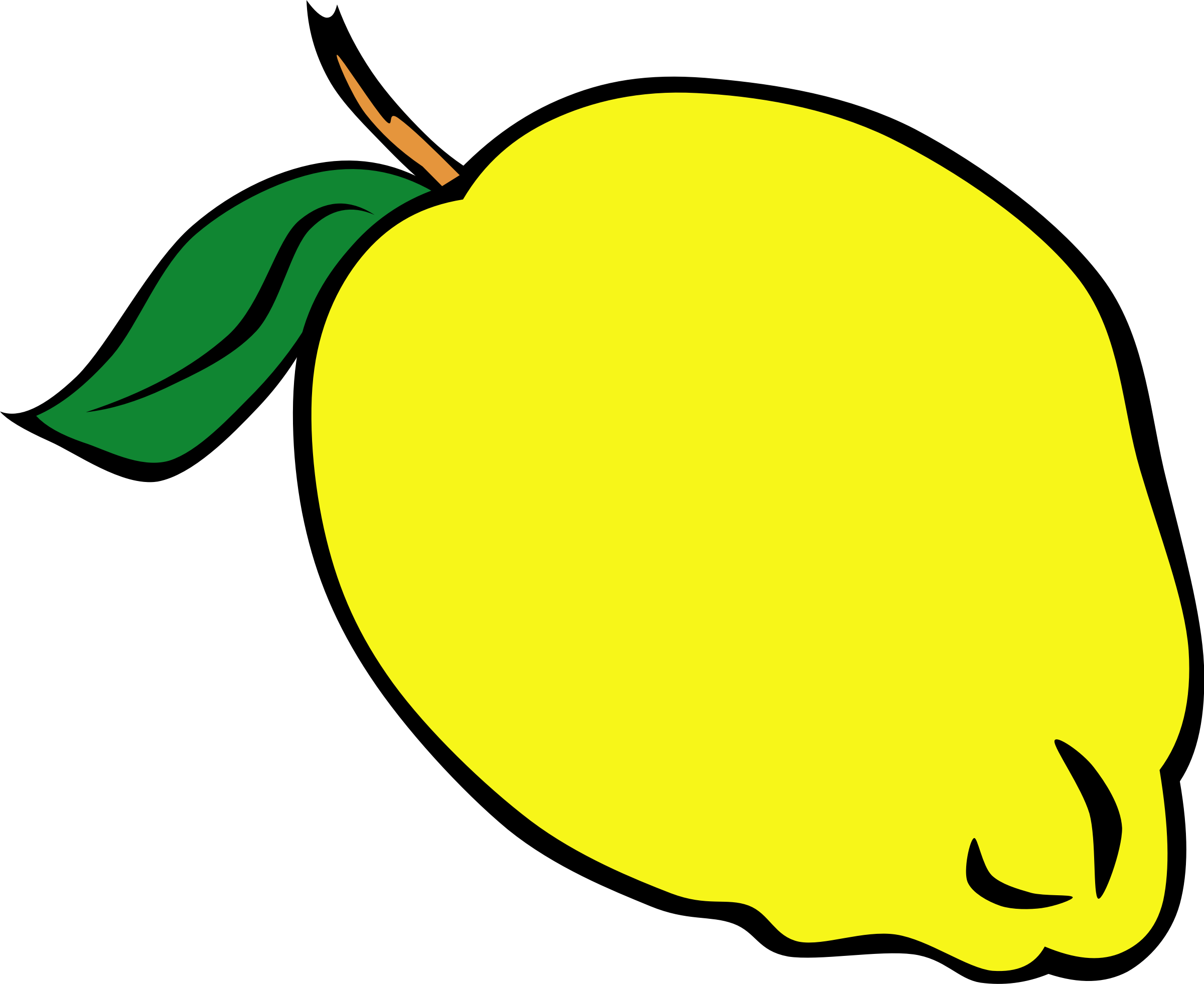 Pear clipart 3 fruit. Lemon yellow pencil and